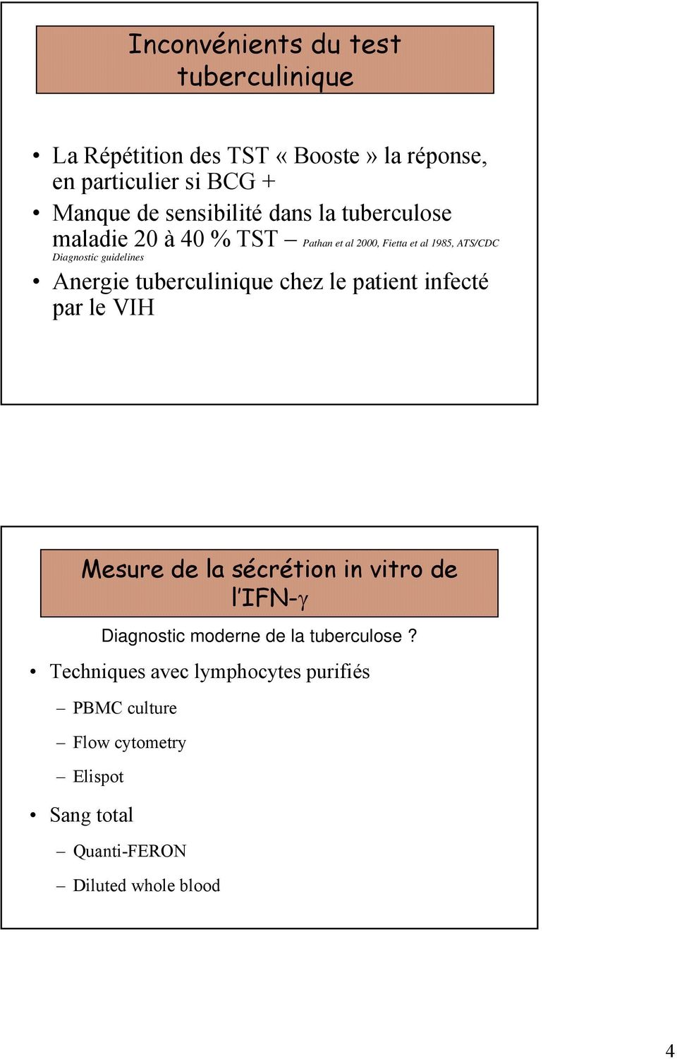 Anergie tuberculinique chez le patient infecté par le VIH Mesure de la sécrétion in vitro de l IFN-γ Techniques avec