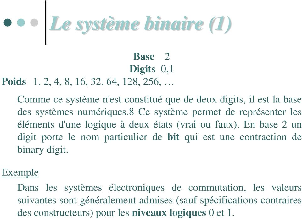En base 2 un digit porte le nom particulier de bit qui est une contraction de binary digit.