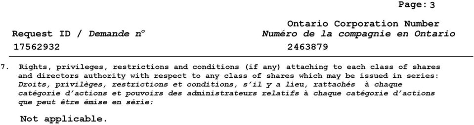 directors authority with respect to any class of shares which may be issued in series: Droits,
