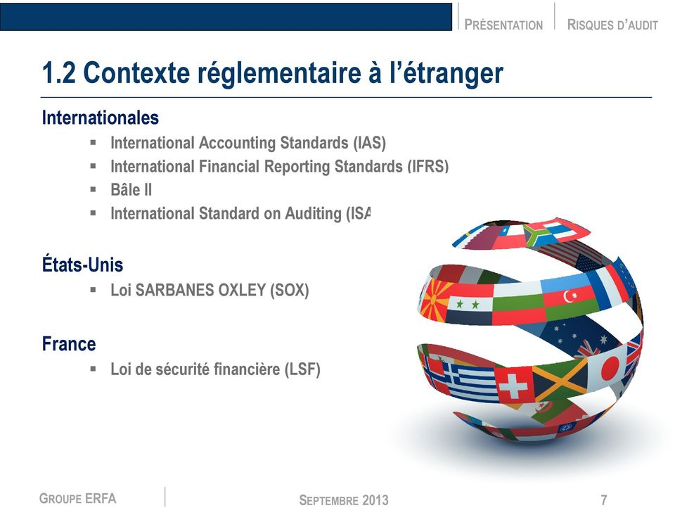 (IFRS) Bâle II International Standard on Auditing (ISA) États-Unis Loi
