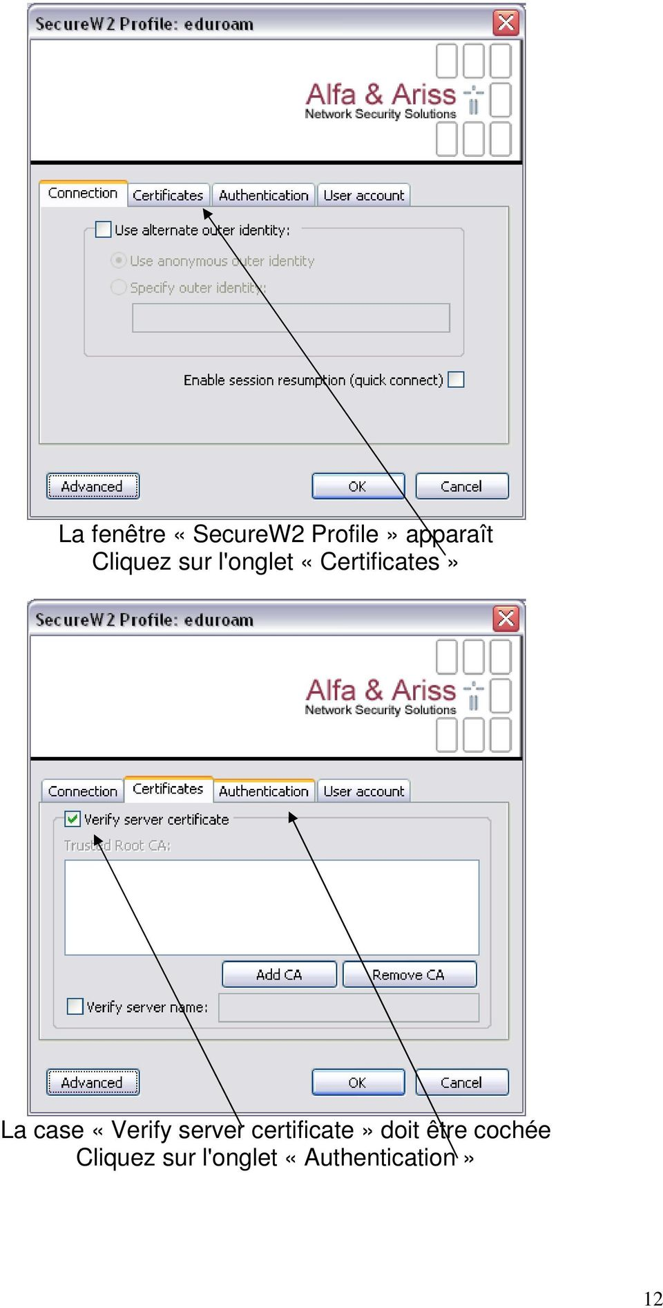 case «Verify server certificate» doit