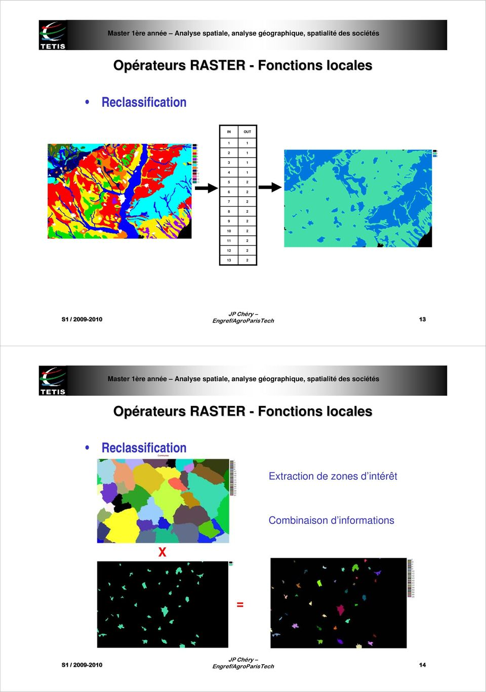 RASTER - Fonctions locales Reclassification Extraction de