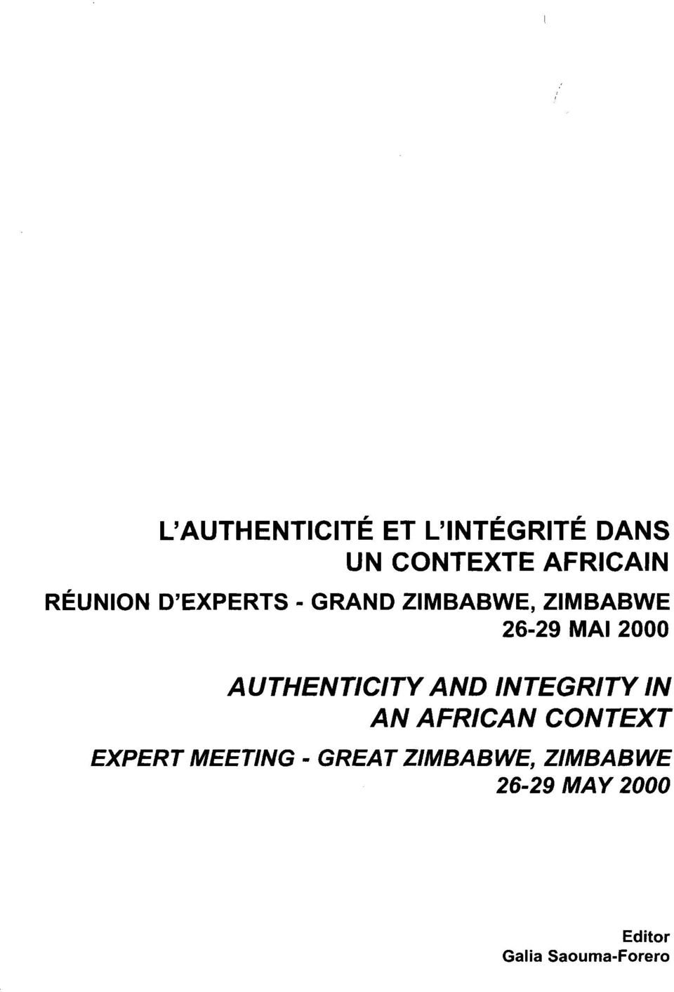 AUTHENTICITY AND INTEGRITY IN AN AFRICAN CONTEXT EXPERT