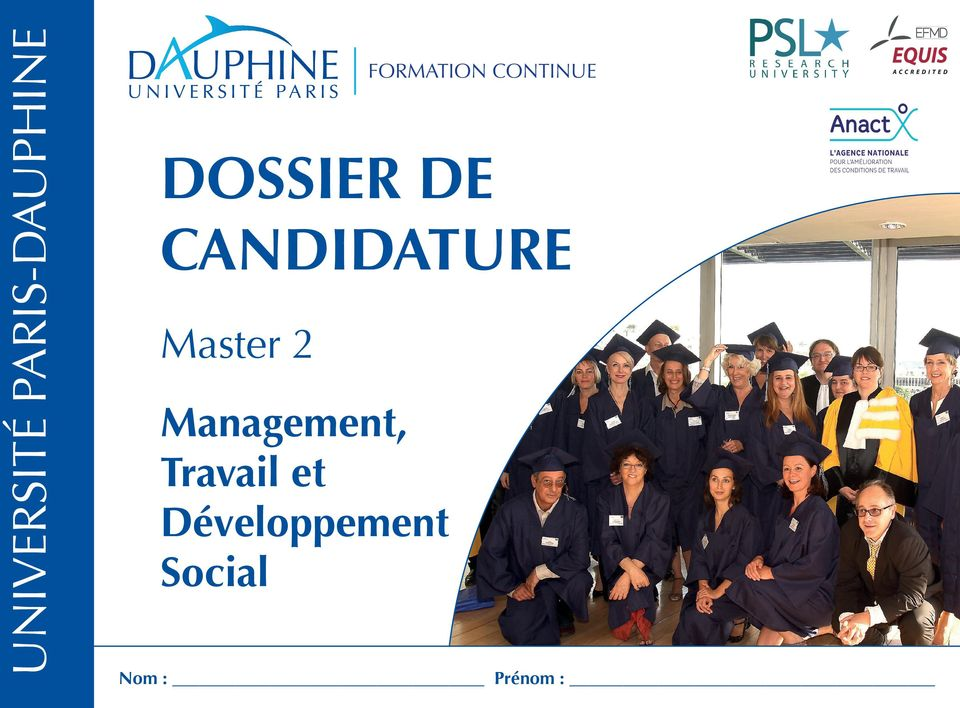 CANDIDATURE Master 2 Management,