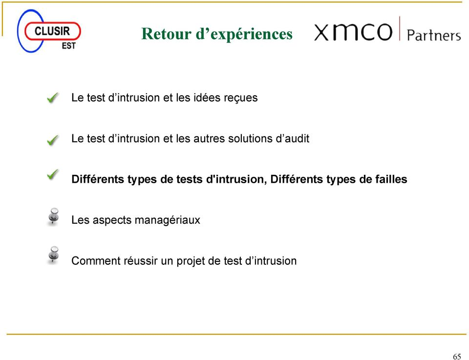 Différents types de tests d'intrusion, Différents types de
