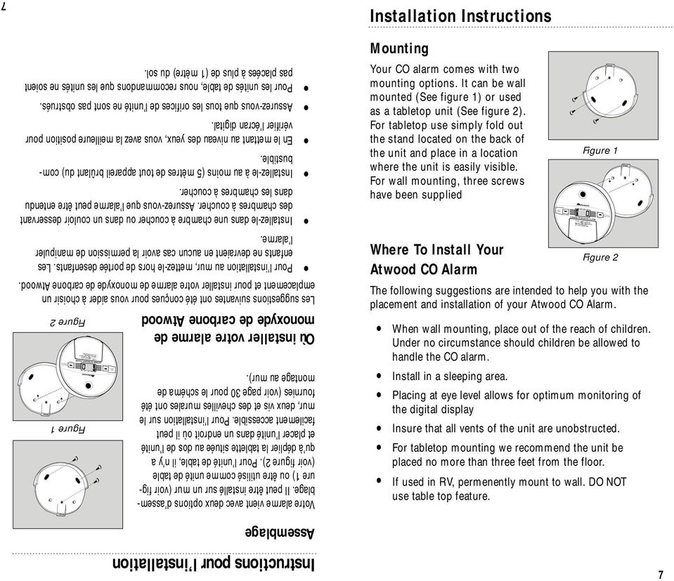 FRESH AIR Peak Level Instructions pour l installation Assemblage Installation Instructions Mounting Your CO alarm comes with two mounting options.