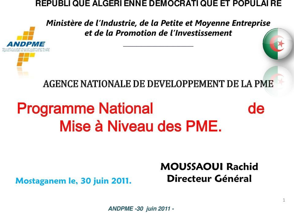 AGENCE NATIONALE DE DEVELOPPEMENT DE LA PME Programme National Mise à