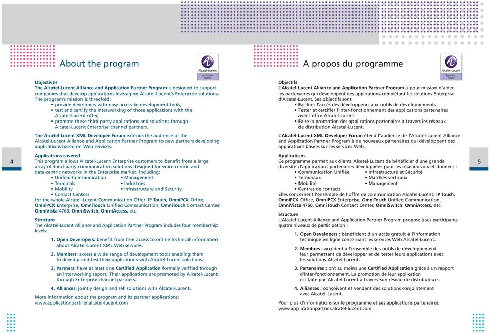The program s mission is threefold: provide developers with easy access to development tools, test and certify the interworking of those applications with the Alcatel-Lucent offer, promote these