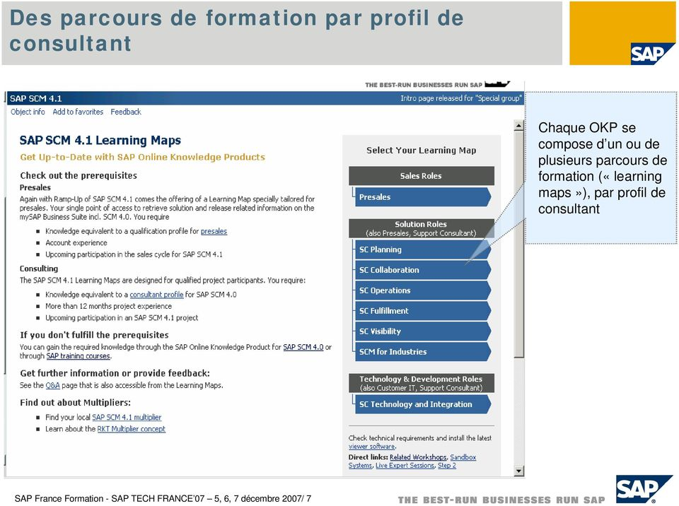formation («learning maps»), par profil de consultant