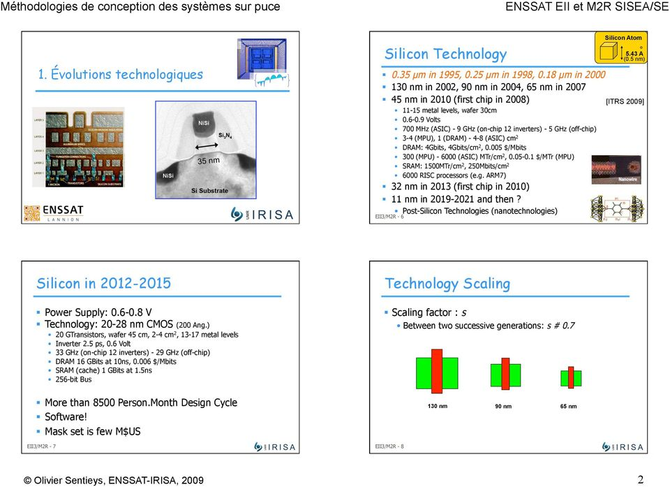 (PU) SRA: 1500Tr/cm 2, 250bits/cm 2 6000 RIS processors (eg AR7) 32 nm in 2013 (first chip in 2010) 11 nm in 2019-2021 and then?