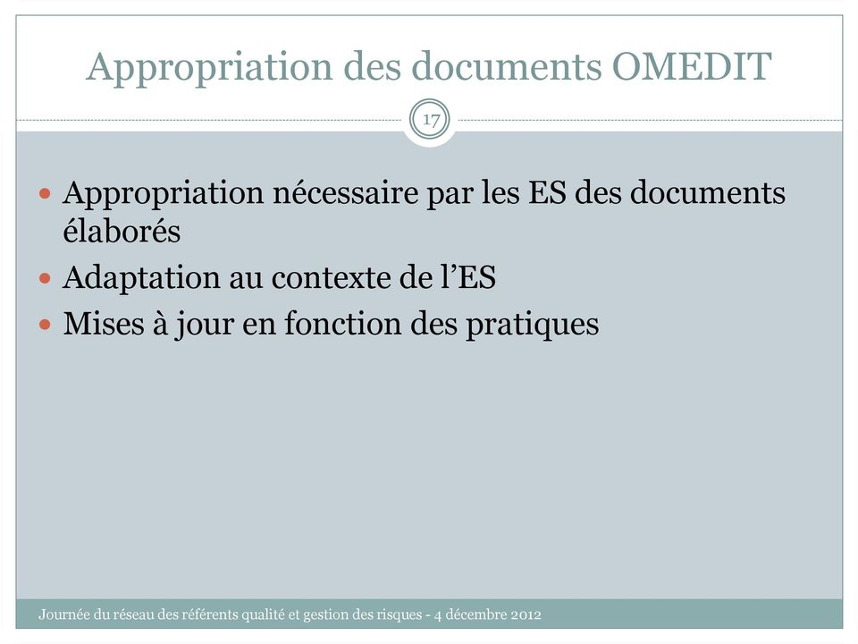 documents élaborés Adaptation au contexte