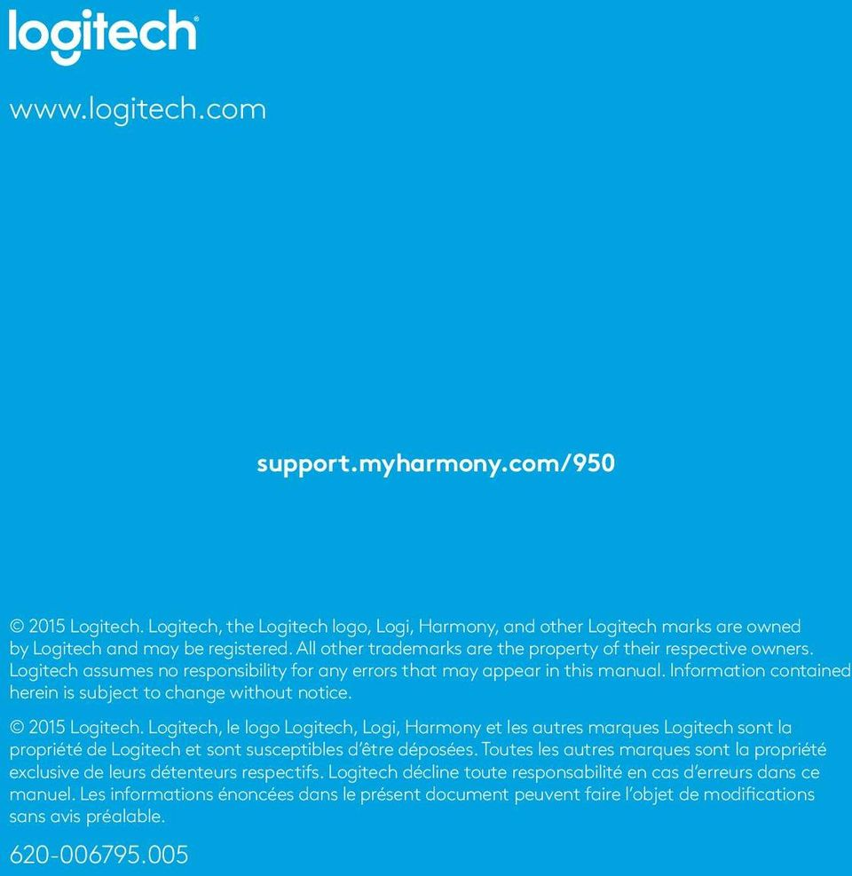 Information contained herein is subject to change without notice. 2015 Logitech.