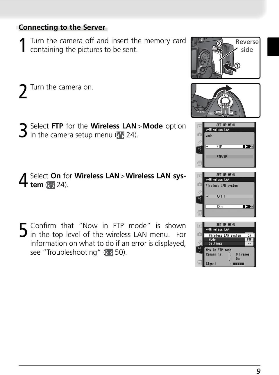 2 Reverse side 1 3Select FTP for the Wireless LAN > Mode option in the camera setup menu ( 24).