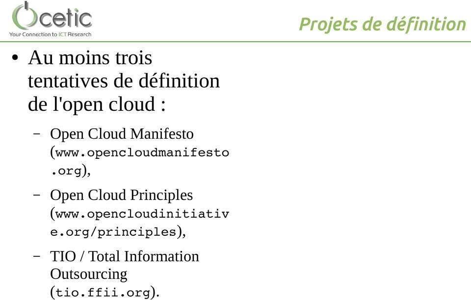 opencloudmanifesto.org), Open Cloud Principles (www.