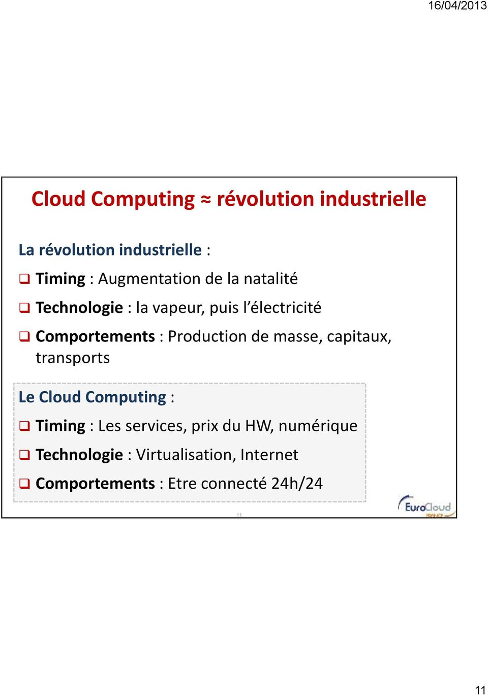 Production de masse, capitaux, transports Le Cloud Computing : Timing : Les services,