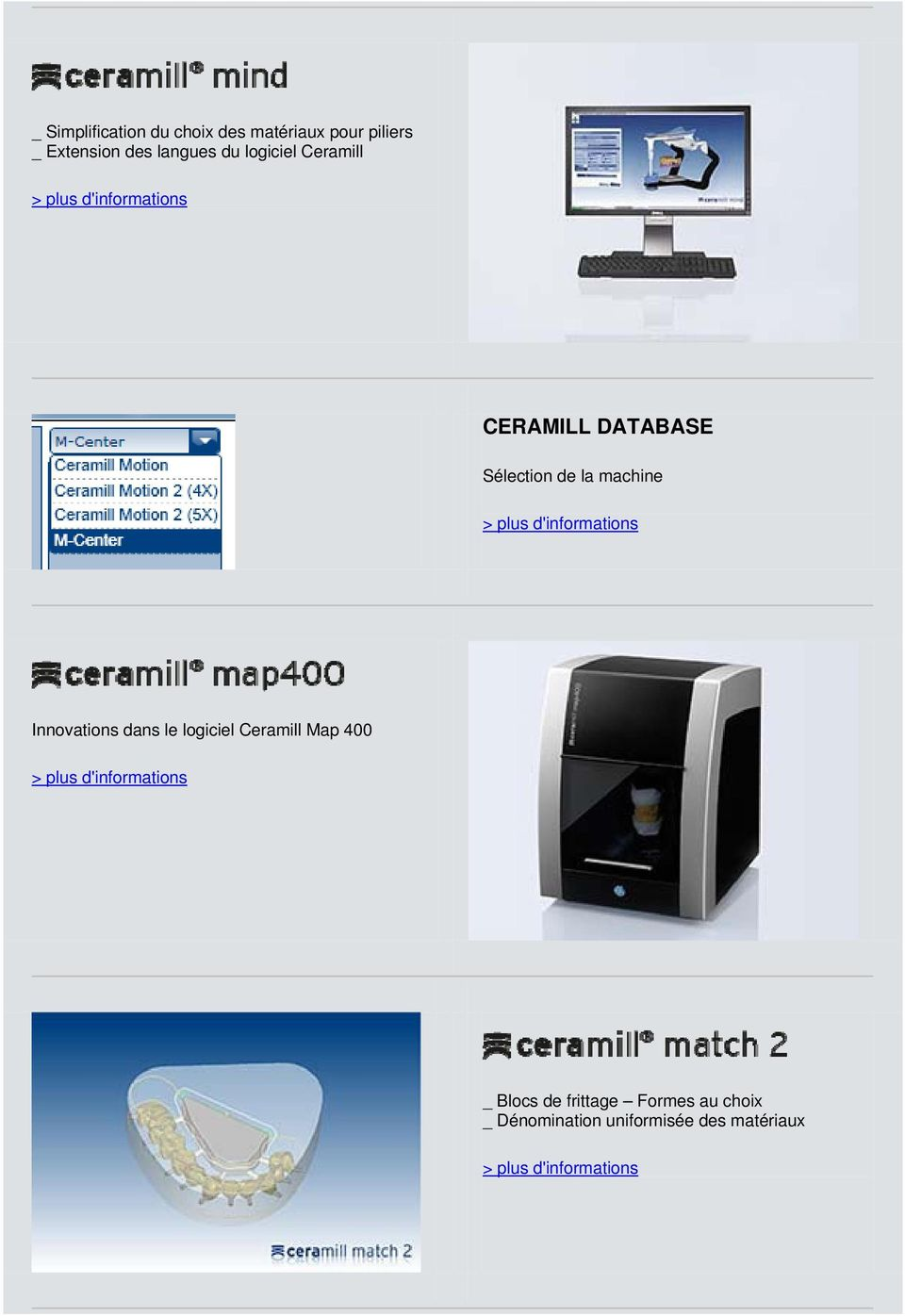la machine Innovations dans le logiciel Ceramill Map 400 _ Blocs