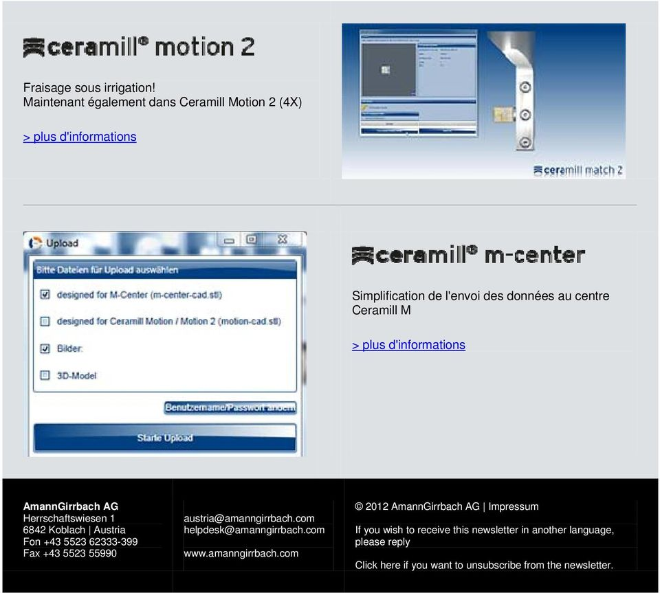 l'envoi des données au centre Ceramill M If you wish to receive