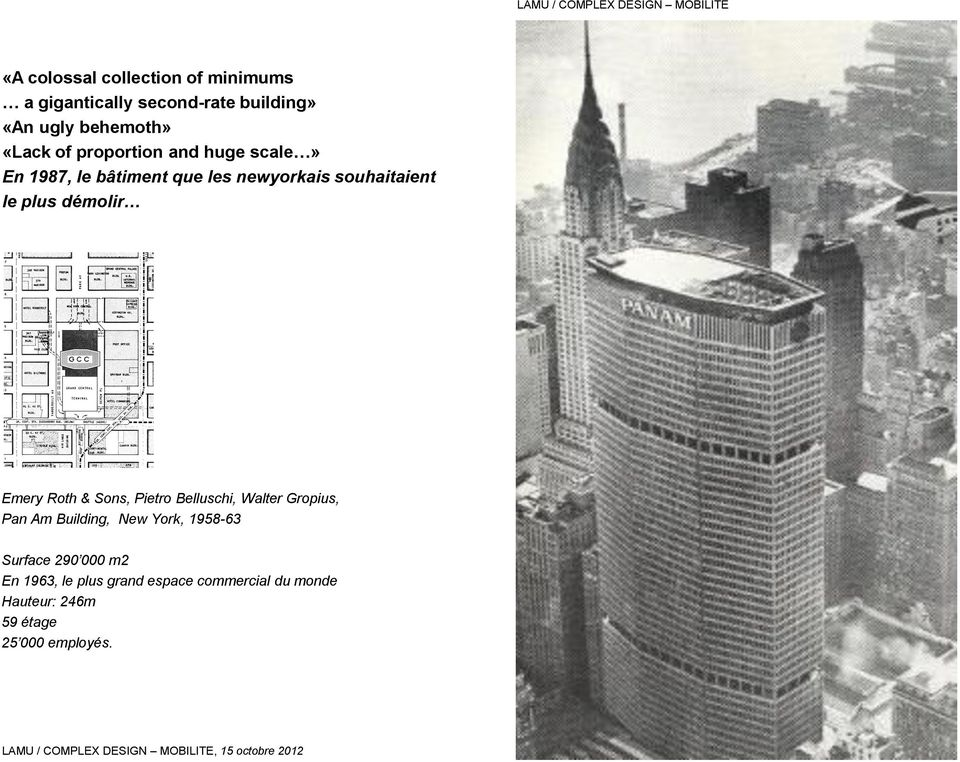 Emery Roth & Sons, Pietro Belluschi, Walter Gropius, Pan Am Building, New York, 1958-63 Surface 290 000 m2 En 1963,