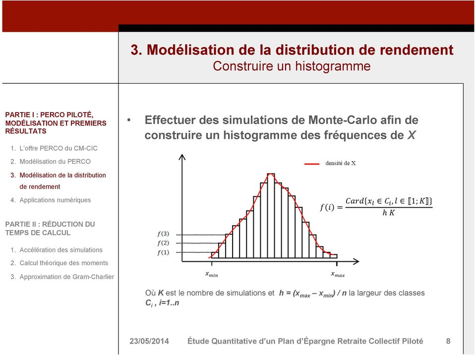 nombre de simulations et h = (x max x min ) / n la largeur des classes