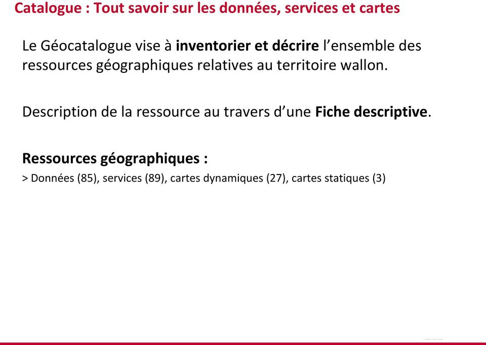territoire wallon. Description de la ressource au travers d une Fiche descriptive.