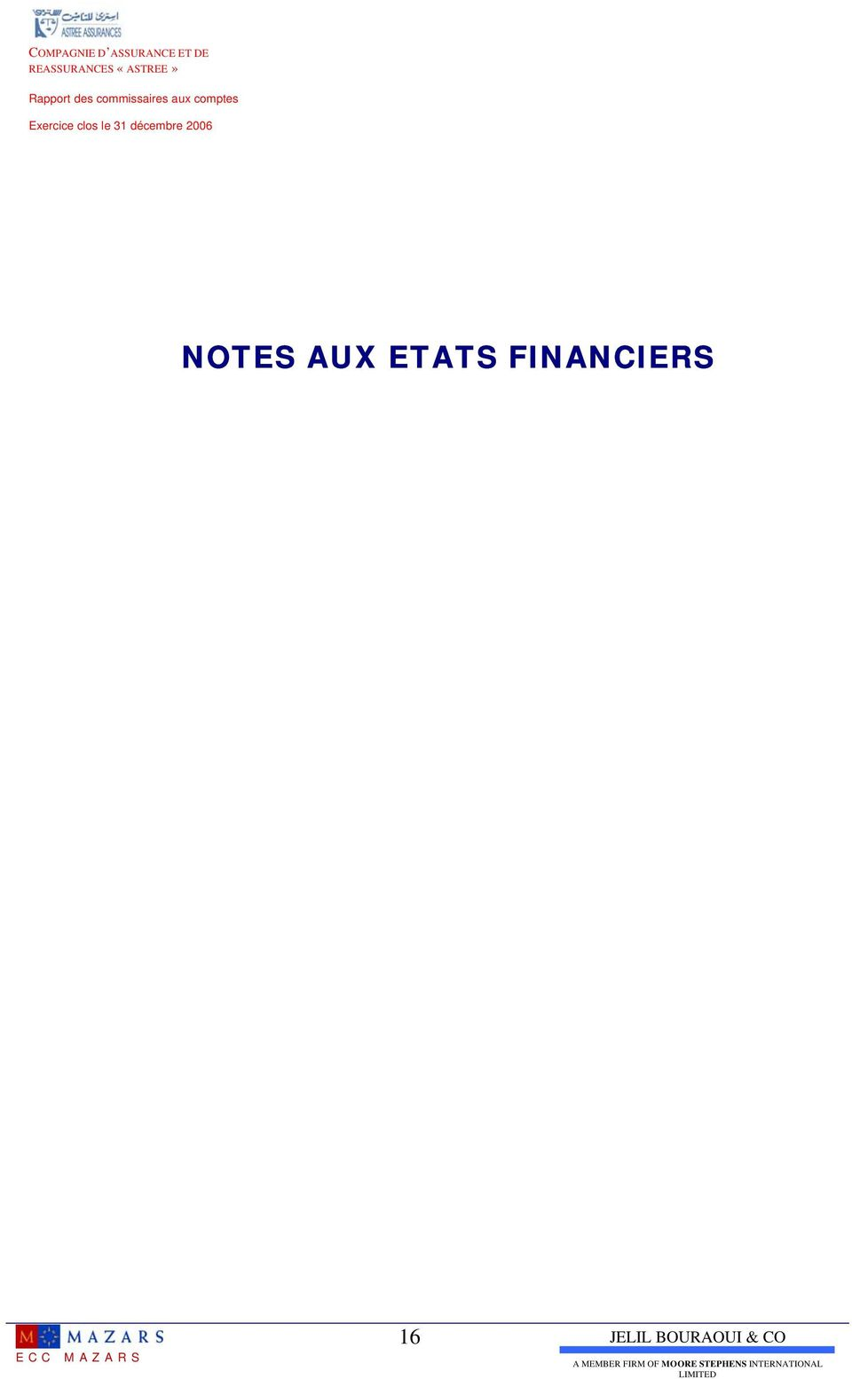2006 NOTES AUX ETATS FINANCIERS ECC MAZARS 16 JELIL