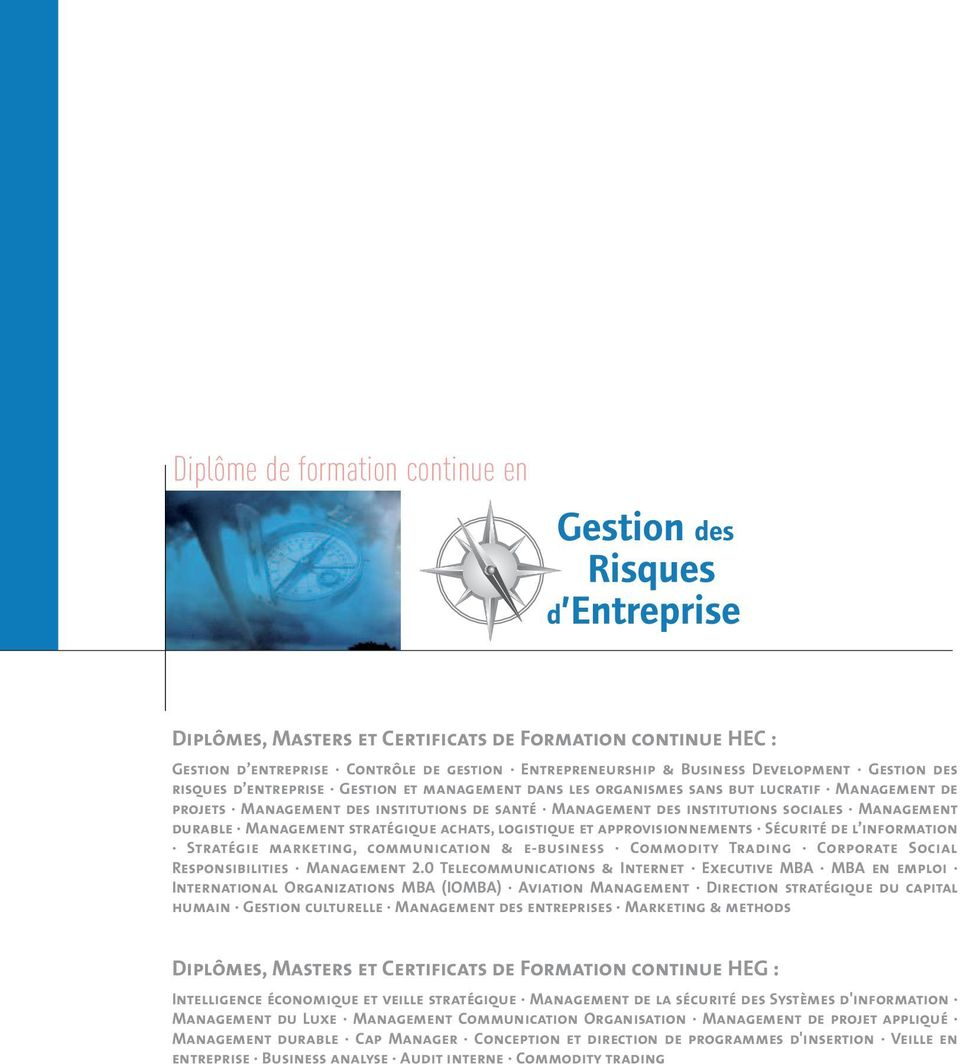 stratégique achats, logistique et approvisionnements Sécurité de l information Stratégie marketing, communication & e-business Commodity Trading Corporate Social Responsibilities Management 2.