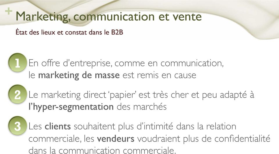 "le marketing de masse est remis en cause"" Le marketing direct papier est très cher et peu adapté à l"