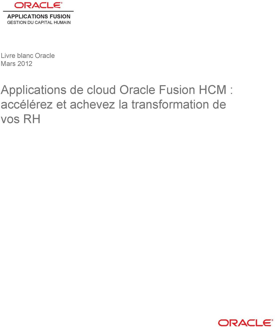 Applications de cloud Oracle Fusion HCM :