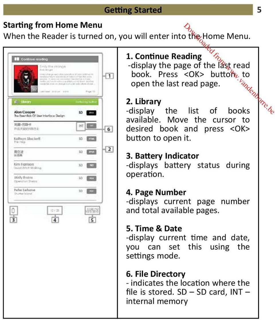 Move the cursor to desired book Battery and Indicator press <OK> button to open it. Page Number 3. Battery Indicator -displays battery Time & Date status during operation. 4.