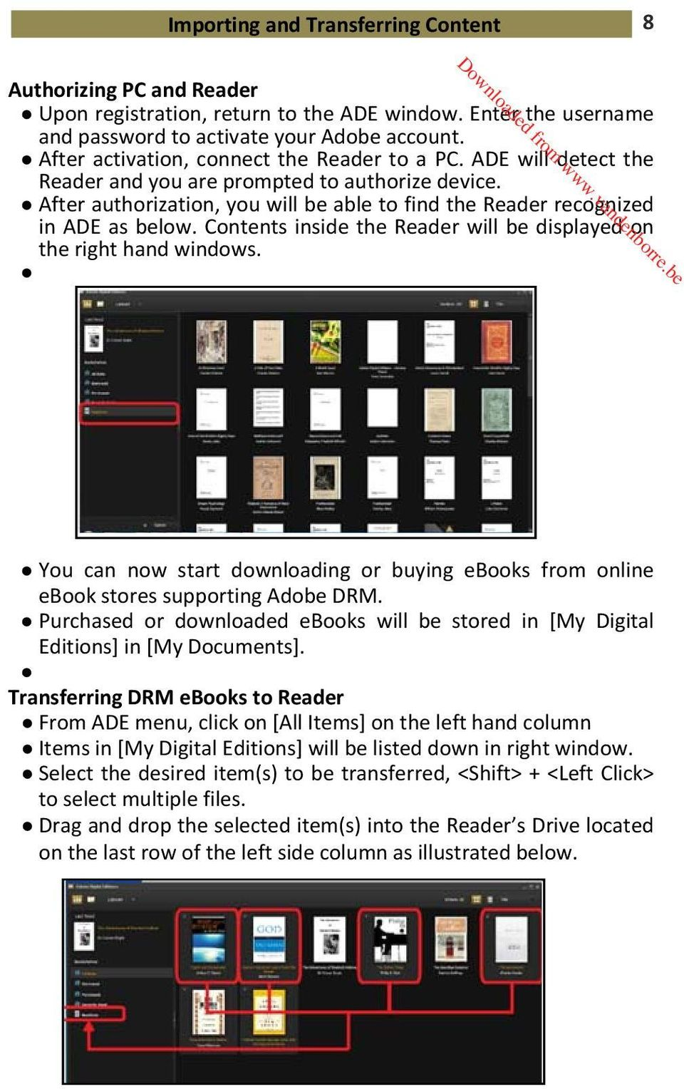 Contents inside the Reader will be displayed on the right hand windows. You can now start downloading or buying ebooks from online ebook stores supporting Adobe DRM.