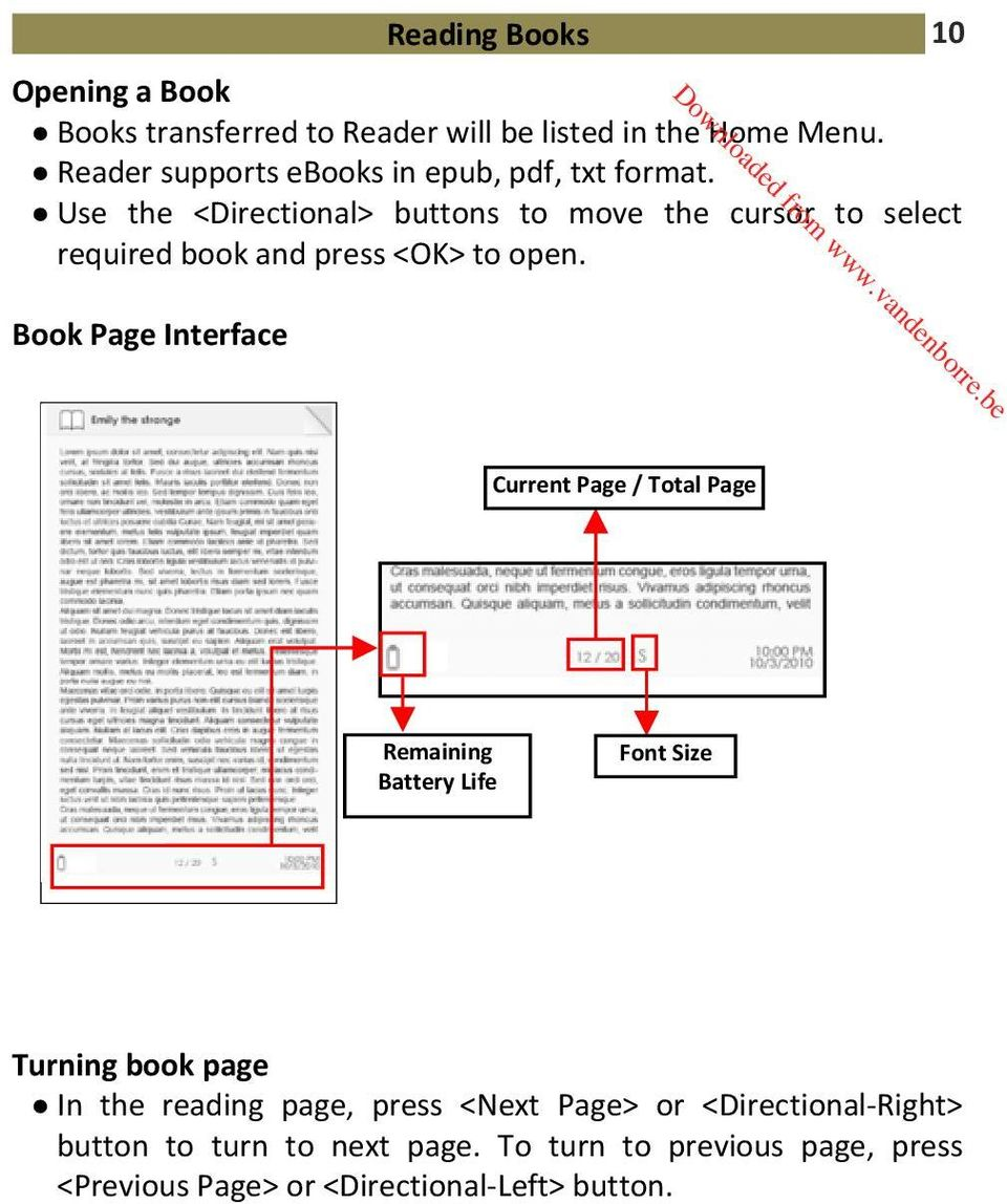 Use the <Directional> buttons to move the cursor to select required book and press <OK> to open.
