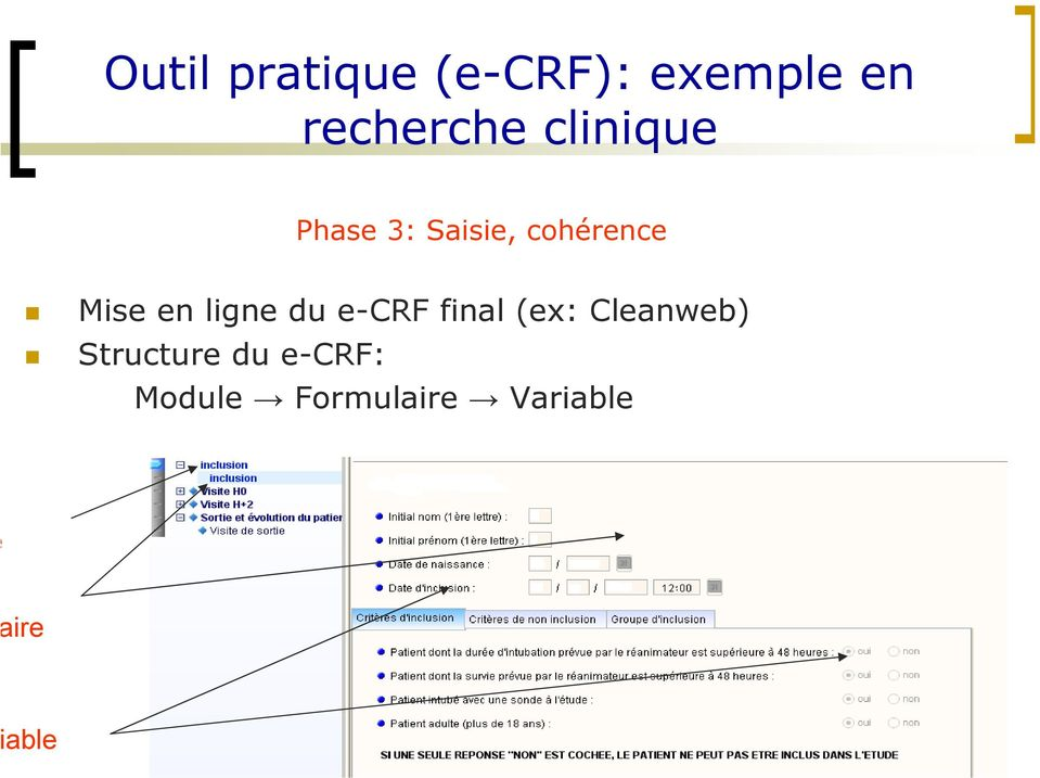 ligne du e-crf final (ex: Cleanweb)