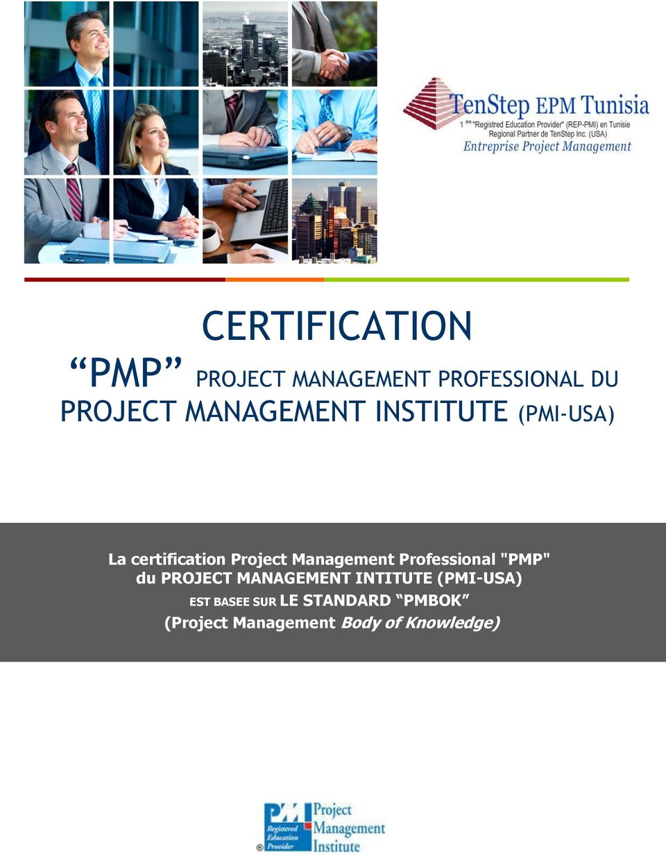 "Management Professional ""PMP"" du PROJECT MANAGEMENT INTITUTE"