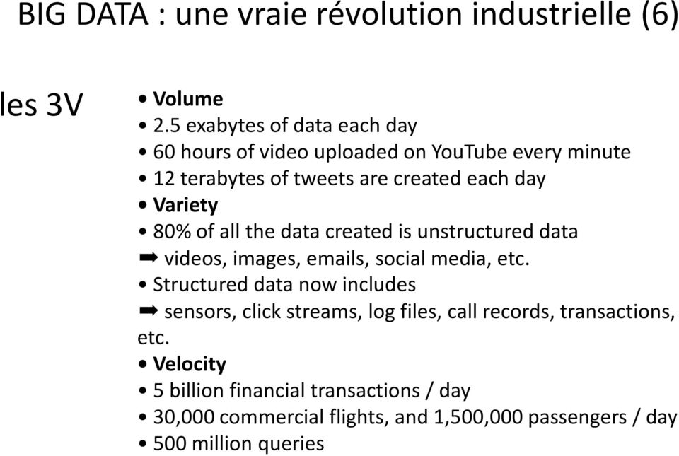 Variety 80% of all the data created is unstructured data videos, images, emails, social media, etc.