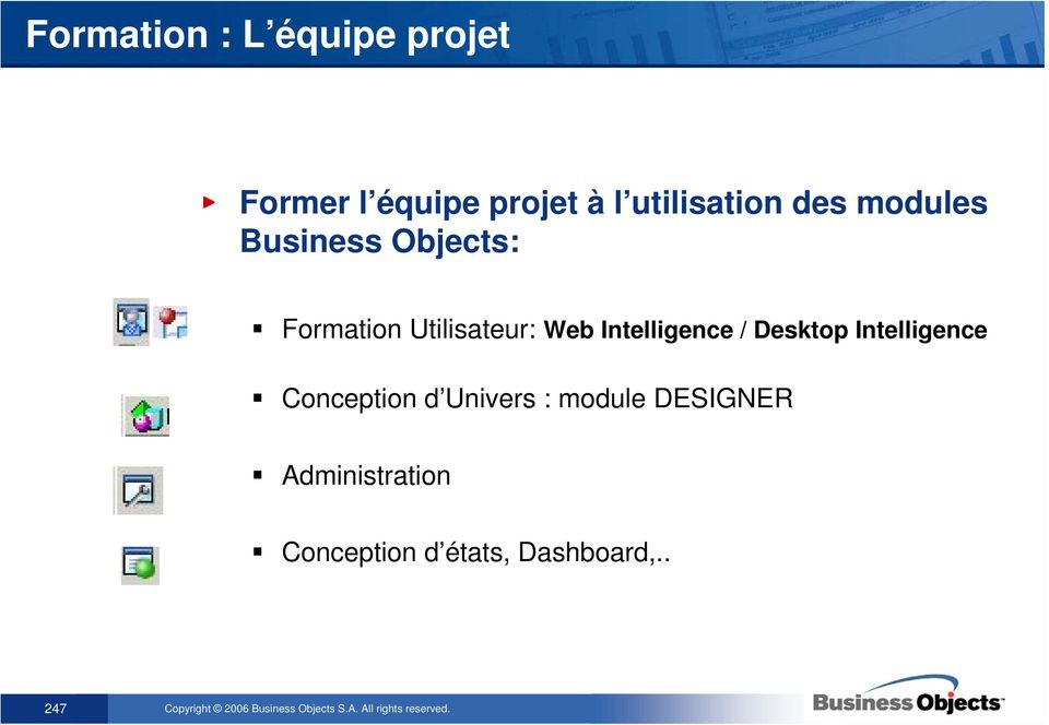 Utilisateur: Web Intelligence / Desktop Intelligence