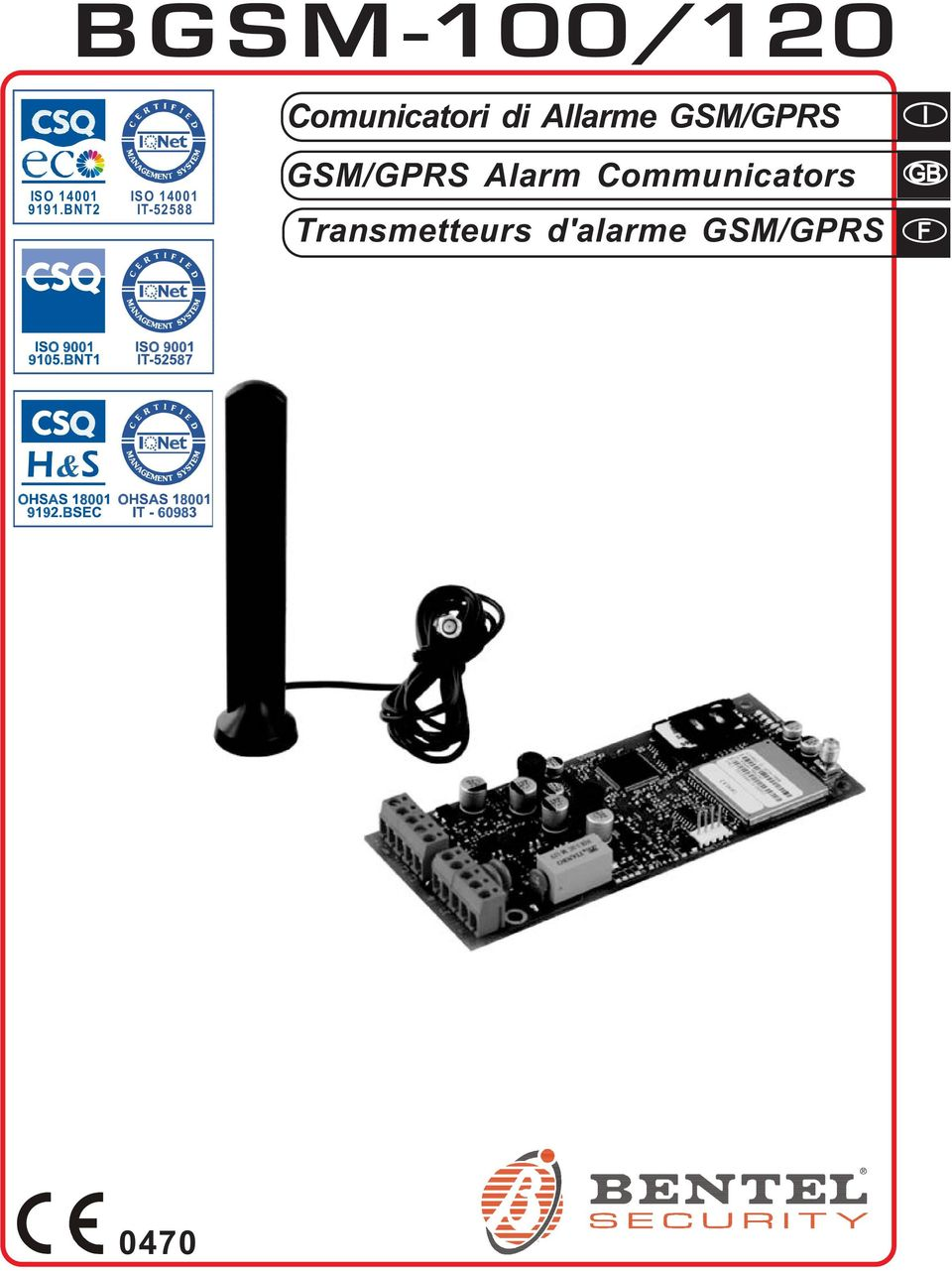 BNT2 ISO 14001 IT-52588 GSM/GPRS Alarm