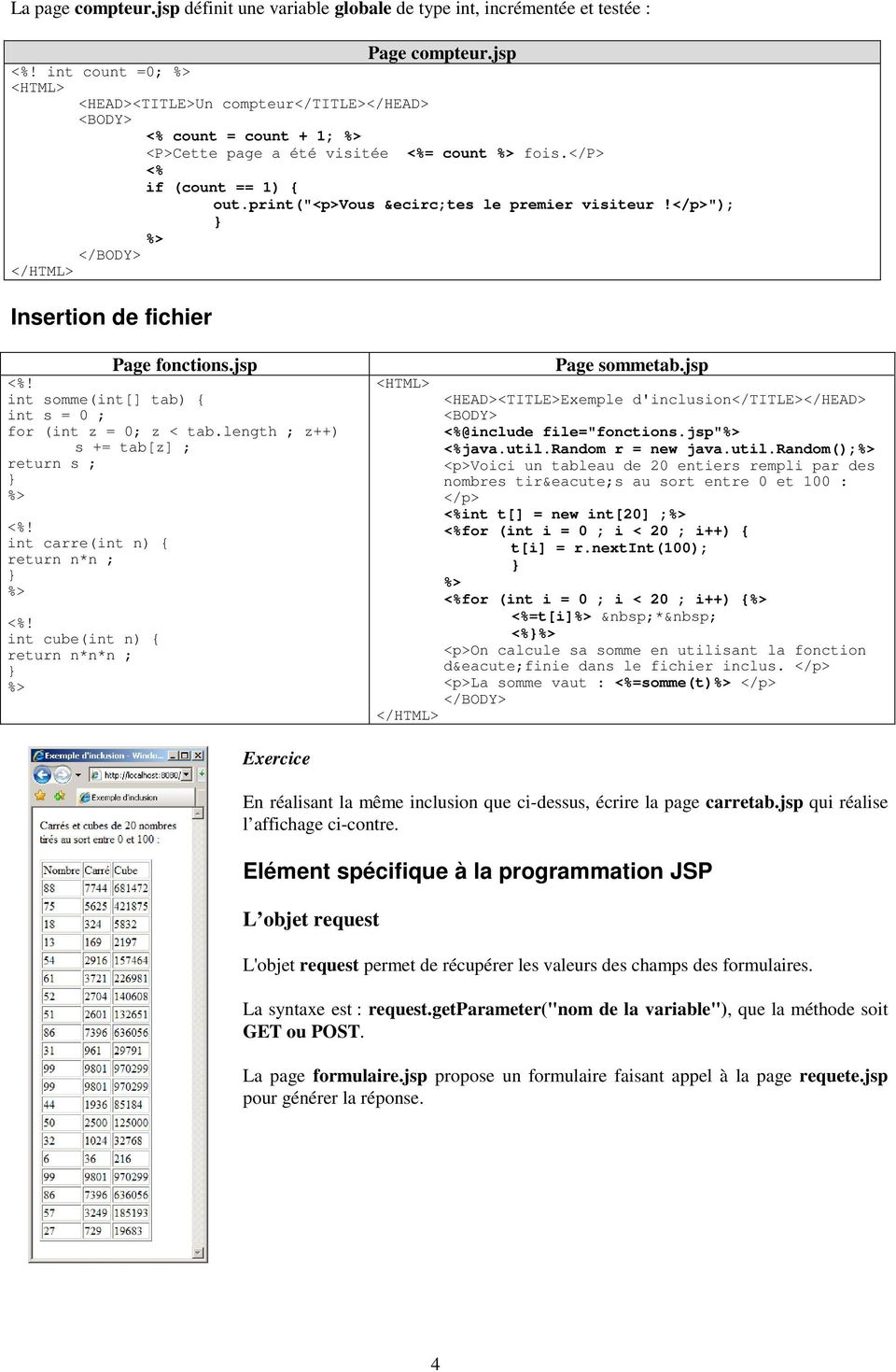 "</p>""); Insertion de fichier Page fonctions.jsp <%! int somme(int[] tab) { int s = 0 ; for (int z = 0; z < tab.length ; z++) s += tab[z] ; return s ; <%! int carre(int n) { return n*n ; <%!"