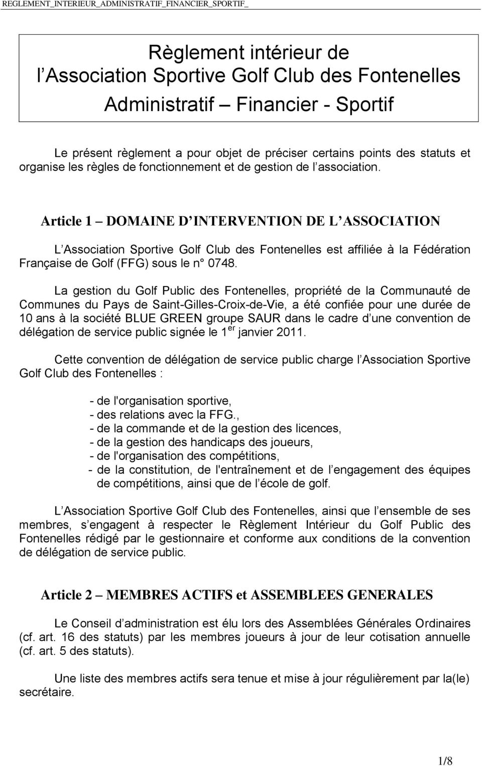 r 232 glement int 233 rieur de l association sportive golf club des fontenelles administratif financier