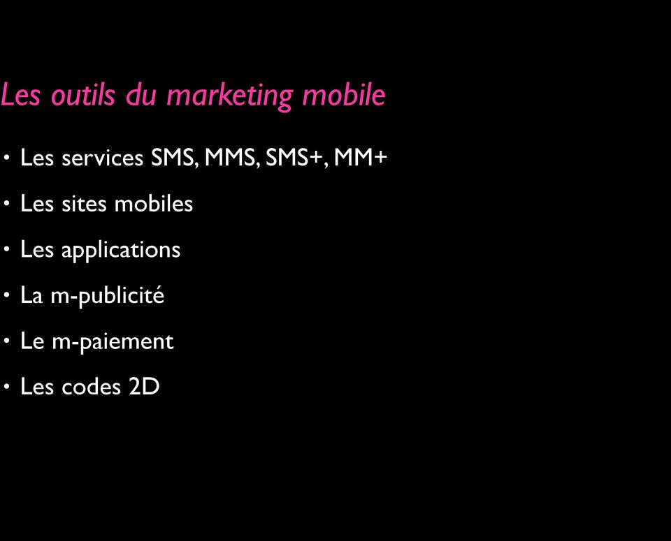 sites mobiles Les applications La