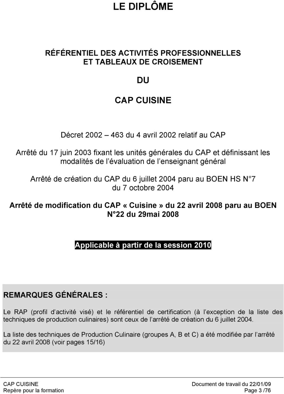 Rep re pour la formation cap cuisine introduction au - Definition commis de cuisine ...