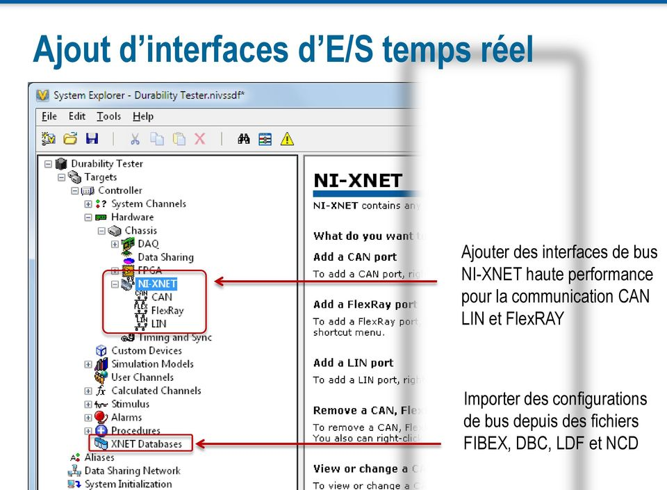 communication CAN LIN et FlexRAY Importer des