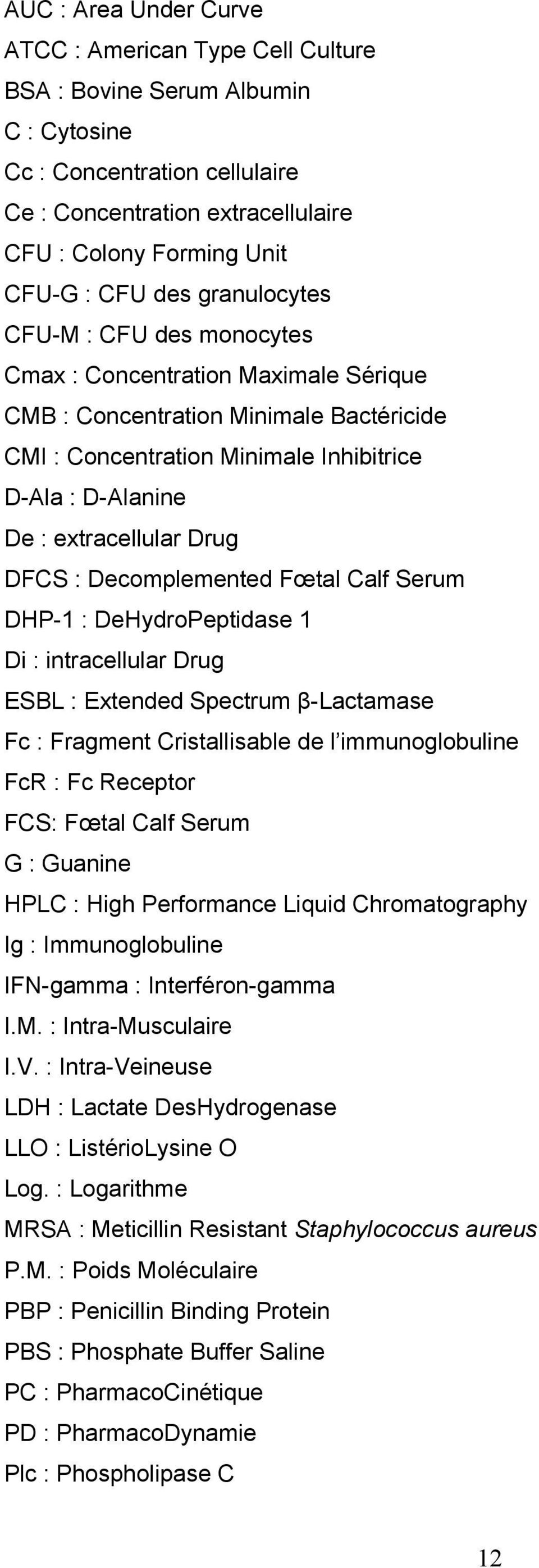 Drug DFCS : Decomplemented Fœtal Calf Serum DHP-1 : DeHydroPeptidase 1 Di : intracellular Drug ESBL : Extended Spectrum β-lactamase Fc : Fragment Cristallisable de l immunoglobuline FcR : Fc Receptor