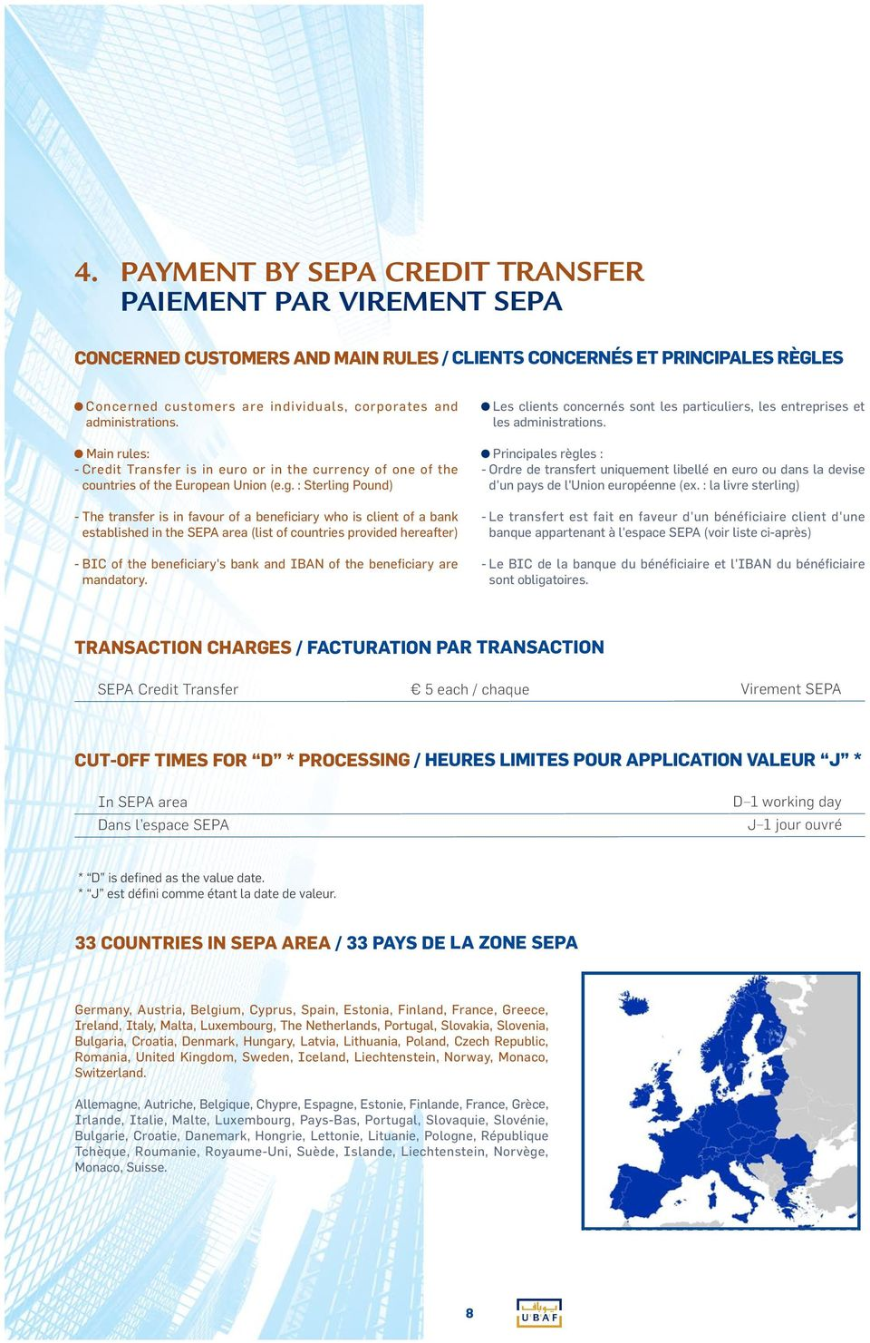 : Sterling Pound) - The transfer is in favour of a beneficiary who is client of a bank established in the SEPA area (list of countries provided hereafter) - BIC of the beneficiary's bank and IBAN of