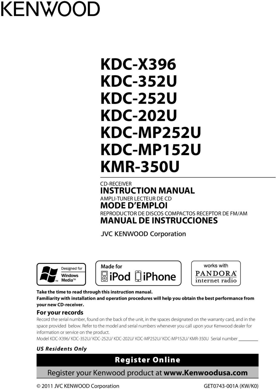Kdc X396 352u 252u 202u Mp252u Mp152u Kmr 350u Pdf Kenwood Wiring Diagram Car Stereo For Your Records Record The Serial Number Found On Back Of Unit