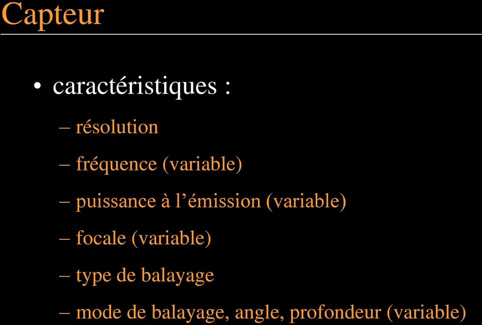 (variable) focale (variable) type de