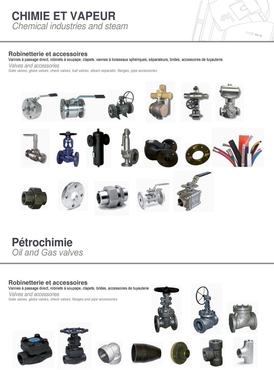 Valves and accessories Gate valves, globe valves, check valves, ball valves, steam separator, flanges, pipe accessories Pétrochimie Oil and