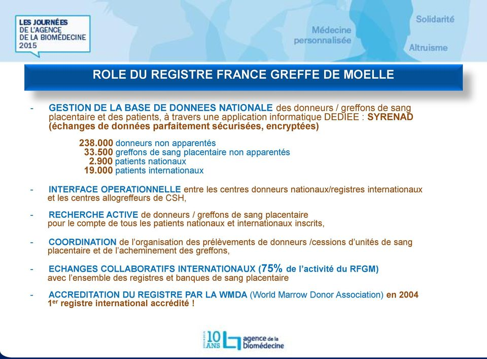 000 patients internationaux - INTERFACE OPERATIONNELLE entre les centres donneurs nationaux/registres internationaux et les centres allogreffeurs de CSH, - RECHERCHE ACTIVE de donneurs / greffons de
