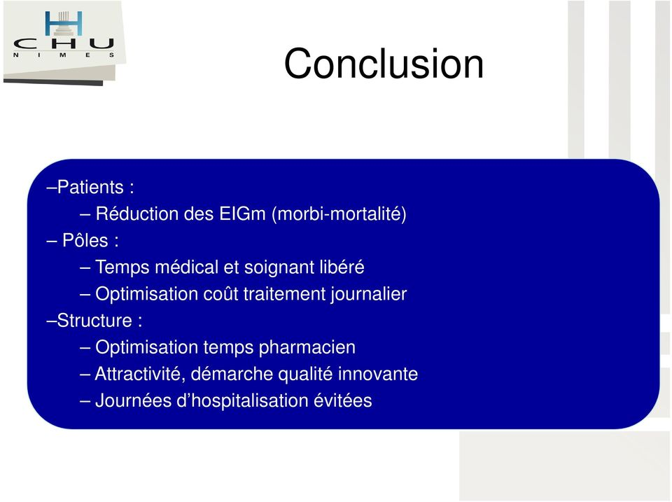 journalier Structure : Optimisation temps pharmacien