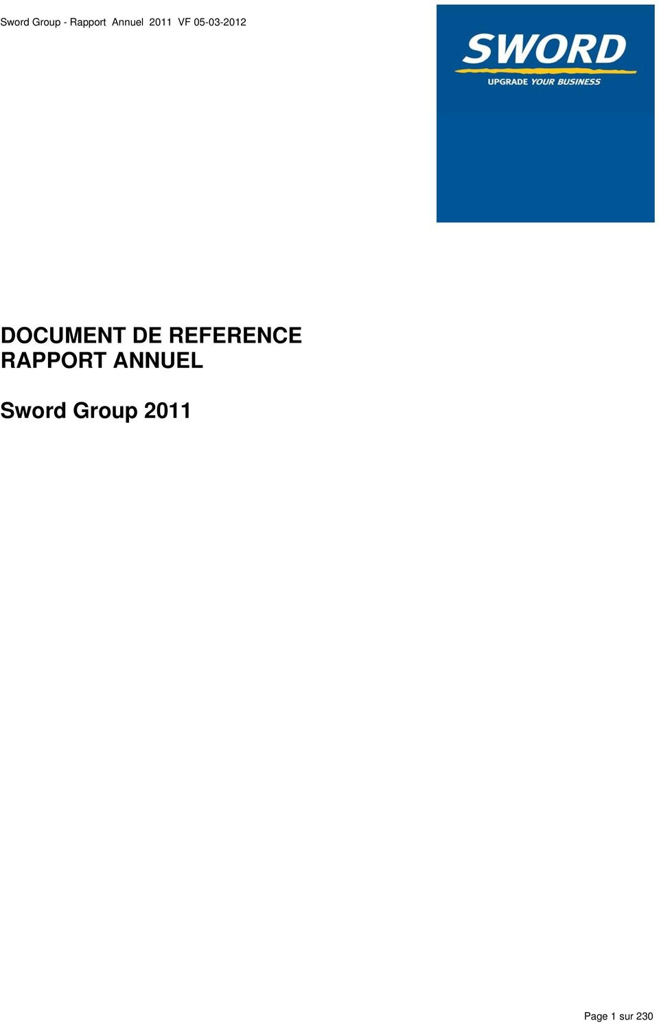 DE REFERENCE RAPPORT ANNUEL