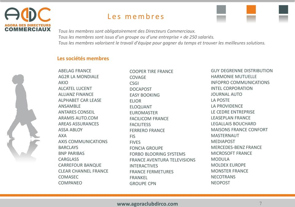 Les sociétés membres ABELAG FRANCE AG2R LA MONDIALE AKIO ALCATEL LUCENT ALLIANZ FINANCE ALPHABET CAR LEASE ANSAMBLE ANTARES CONSEIL ARAMIS AUTO.